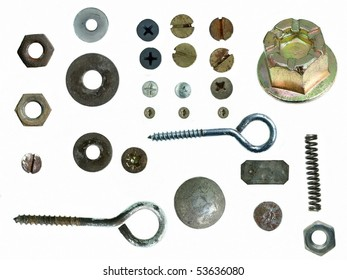 Old rusty Screw heads, bolts, steel nuts, isolated on white