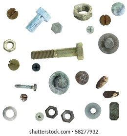Old rusty Screw heads, bolts, steel nuts,  isolated on white background (exclusive)