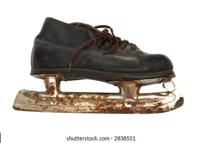 Old and rusty skates on a white background