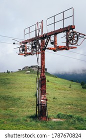 Old rusty ski lift standing on the top of Vysoka hole in Hruby Jesenik, in the Czech mountains on the border with Poland. Abandoned ski transport facility. Nature reserves in the Czech Republic. - Shutterstock ID 1787670824