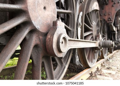Old and rusty steam train details