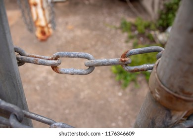 old rusty sturdy security chain link, security protection safekeeping lock closed concept