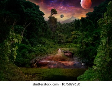 An old, rusty, sunken boat in a tropical river. Jungle, hippopotamus, heron, fish and lizard. Crimson moon in the night sky over the rainforest.