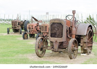 Old rusty tractors in the etnographic museum in Angla on Saaremaa island in Estonia