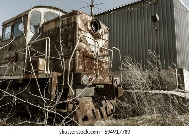 Old Rusty Train Locomotive Thrown Exclusion Stock Photo