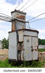 Old and rusty transformer station installed near Vinnitse, Ukraine