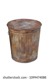 Old rusty trash can isolated on white background with clipping path