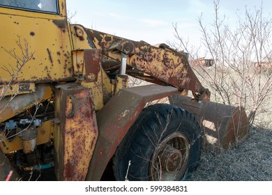 Old rusty truck thrown in desert of car park in ghost town of Pripyat, Chernobyl, Ukraine. Old rusty ancient car, Broken abandoned ancient rusty iron car. Radiation Zone, Stalker, Apocalypse Park USSR