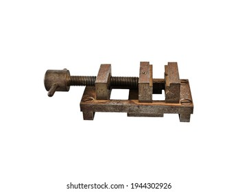 Old rusty vice clamp isolated on white background