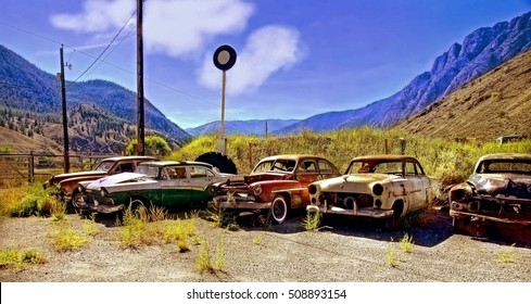 old rusty vintage cars