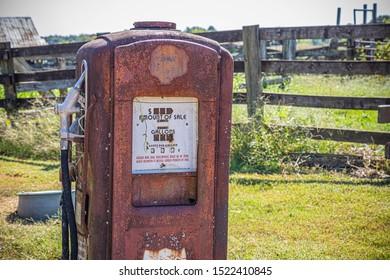 Old rusty vintage gas pump