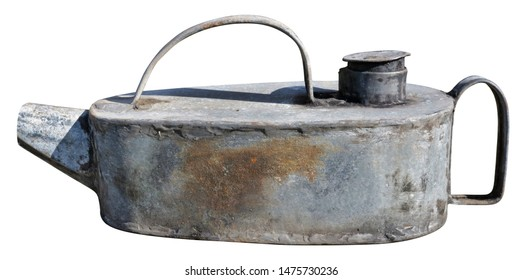Old  rusty vintage metal  can for  motor oil   isolated on white