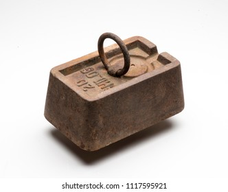 old rusty weight isolated on white background