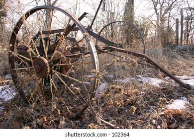 An old rusty wheel