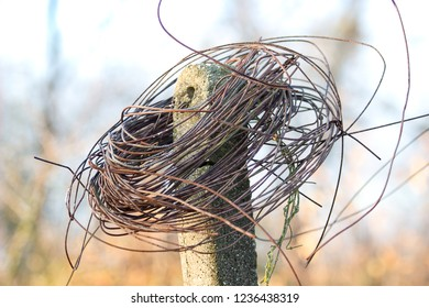 old rusty wire in vineyard