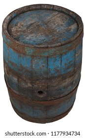 old rusty wooden barrel isolated on white