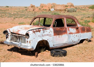 Old rusty wrecked car in Outback Australia