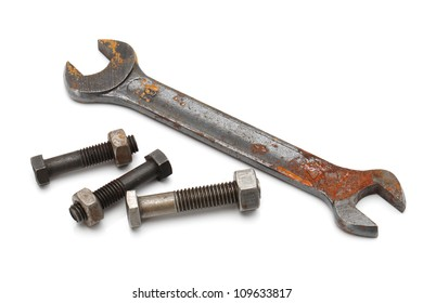Old rusty wrench, isolated on white background