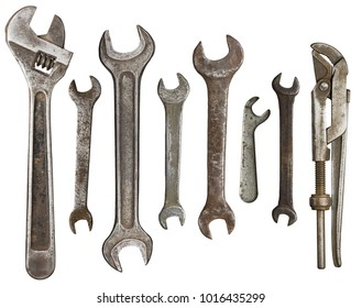 Old rusty wrenches, spanners set isolated on white.