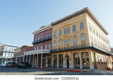 Old Sacramento, CA - February 7, 2013: Ebner's Hotel historic building in Old Sacramento. It's listed as a California Historical Landmark.