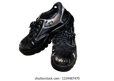 Old Safety Shoes White background  Safety equipment