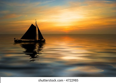 an old sailboat and a beautiful sunset