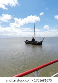 old sailing boat at the north sea