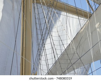 Old sailing ship, close up on the sails and mast. This ship is cruising on the Mediterranean Sea.