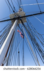 Old sailing ship rigging