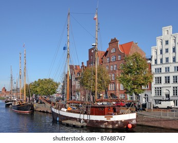 old sailing ships in the harbor of Luebeck, Germany