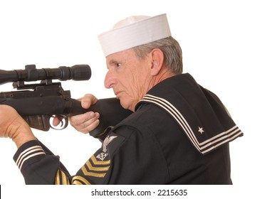 Old sailor from the United States Navy with a sniper rifle