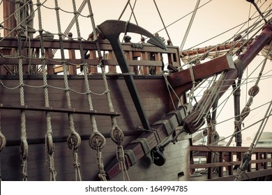 Old sailship. Vintage retro style.