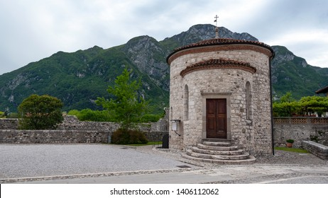Old Saint Michel (San Michele) Baptistery of Venzone, Northern Italy.  It has been fully restored after the May 6th, 1976 earthquake.