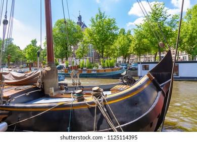 Old saling boat in Amsterdam