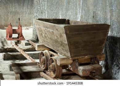 Old salt mine wagon on old tracks - Salina Turda, Romania, Transylvania