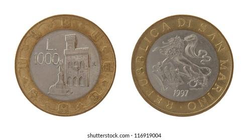 Old Sammarinese 1000 lira coins isolated on white