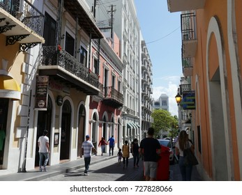 OLD SAN JUAN, PUERTO RICO—One of the busy streets of Old San Juan, Puerto Rico in March 2017.