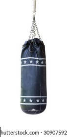 Old Sand bag hanging on ceiling for practice boxing, on white background