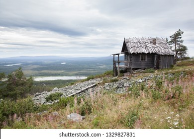 Old Santa Claus house on the top of Levitunturi fell on autumn. This cabin is near of ski slopes and it is very popular place for tourist to take photos while skiing or hiking