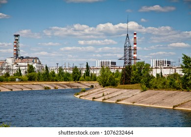 Old sarcophagus and pipes of the   damaged reactor number 4. Chernobyl nuclear power plant (Ukraine)