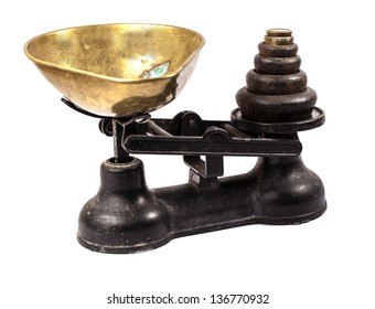 A old scale with brass holder and weights on a white background. Antique scale.