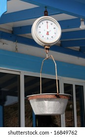 Old scales in greek taverna. Used to weight the fish for the restaurant,  Dodecanese islands, Greece