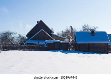 Old scandinavian wooden house. Winter's Tale.