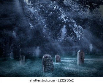 Old Scary Graveyard with flying ghosts