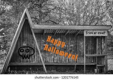 """Old scary looking wooden bus stop with inscriptions Happy Halloween! and """"Trick or treat?"""", gloomy trees in the background, monochrome illustration with colorful text"""