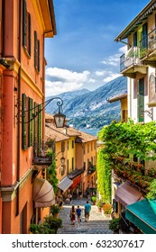 Old scenic street in Bellagio, Como lake, Italy.
