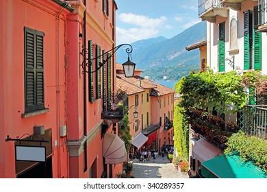 Old scenic streets in Bellagio, Como lake, Italy.