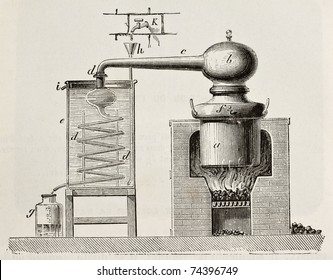 Old schematic illustration of a brass alembic. Original, by unknown author, was published on L'Eau, by G. Tissandier, Hachette, Paris, 1873