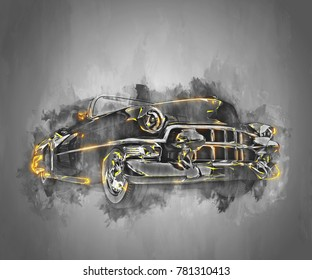 Old school black muscle car with golden glowing details - 3D Illustration