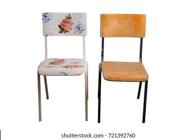 Old school chair decorated with decoupage technique and classroom chair that is not yet decorated. On decorative stamps, it is written: Bakery, Paris No.12, At the Good Bread, in the French language.
